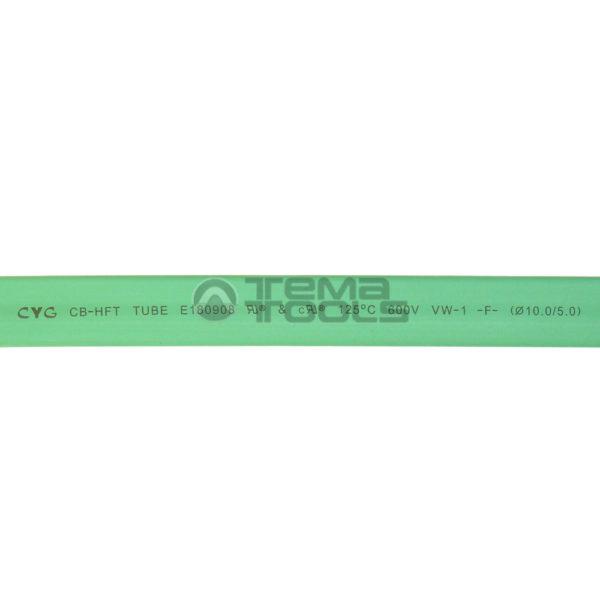 Термоусадочная трубка 2:1 10 мм зеленая (текст)