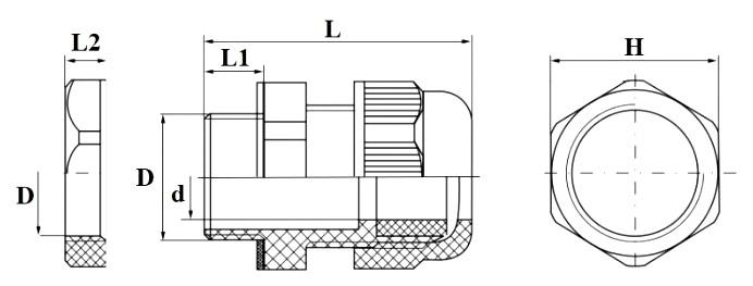 Чертеж гермоввода M