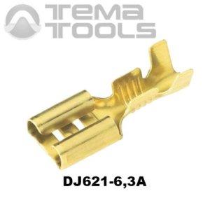 Коннектор плоский разрезной DJ621-6,3A 0,35 мм мама