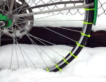 Улучшение сцепления шин велосипеда кабельными стяжками