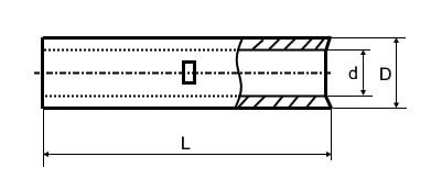 Силовая медная лужена гильза GTY чертеж