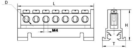 Шина нулевая на DIN-рейку чертеж