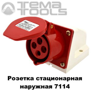 Розетка силовая стационарная наружная 7114 3P+E 16А 380В IP44 красная