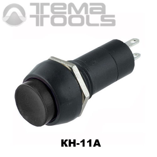 Кнопка нажимная КН-11А с фиксацией с черной круглой клавишей