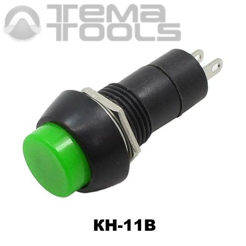 Кнопка нажимная КН-11В без фиксации с зеленой круглой клавишей