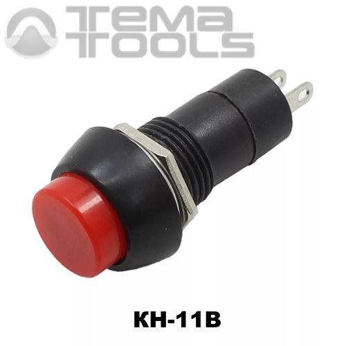 Кнопка нажимная КН-11В без фиксации с красной круглой клавишей