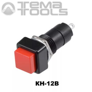 Кнопка нажимная КН-12В без фиксации с красной квадратной клавишей