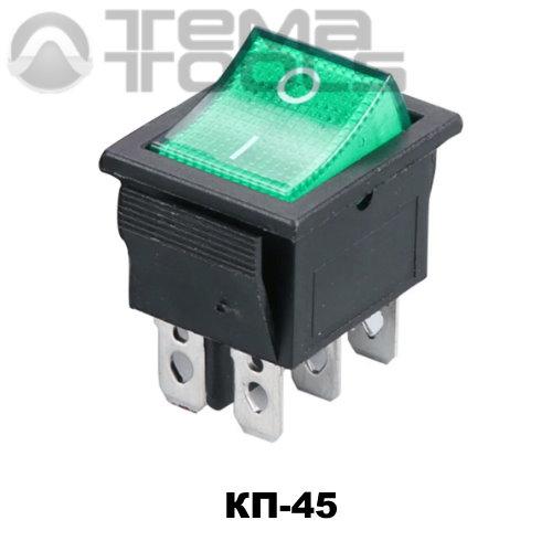 Клавишный переключатель КП-45 с зеленой прямоугольной клавишей